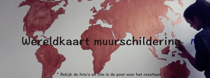 wereldkaart muurschildering